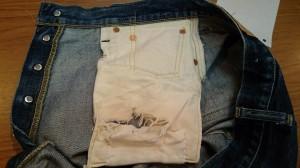 160212-前右のフロントポケット袋のダメージ補修前